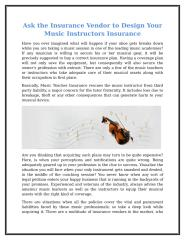 Ask The Insurance Vendor To Design Your Music Instructors Insurance.doc